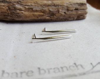 Silver Spike Studs - Nail Post Earrings - Silver Nail Studs - Railroad Spike Studs - Argentium Silver Earrings - Hypoallergenic Jewelry