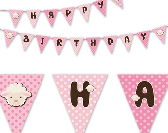 Sheep Theme Birthday Party Printable Banner