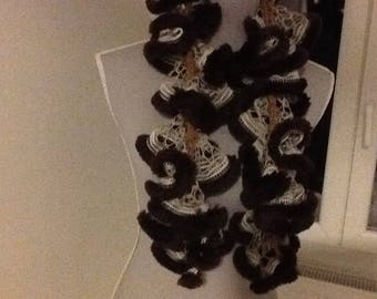 Handmade ruffled wool Brown and beige lace scarf
