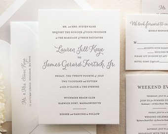 The Lily Suite - Chic Letterpress Wedding Invitation Suite, Black, Gray, Grey, Liner, Calligraphy, Script, Simple, Classic, Modern, Elegant