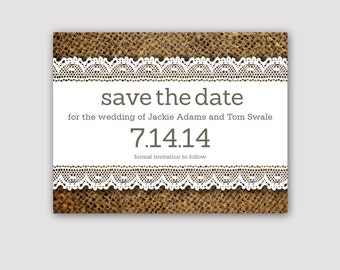 Burlap and Lace Save The Date - Rustic Save The Date  - Wedding Lace & Burlap Invitation - Farm Wedding Save The Date