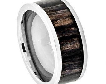 Titanium Ring Pipe Cut with African Blackwood Inlay – 9mm