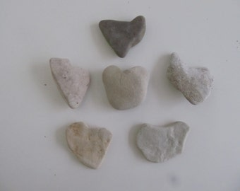 Six Heart Shaped Rocks - Heart Shaped Sea Stones - Heart Stones Wedding Stones - Love Stones