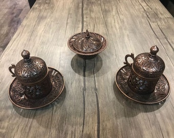2 Pieces Copper Turkish Coffee Cup Set