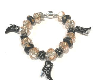 Black Cowgirl Boot Lampwork Glass Bracelet with Black and Rhinestone Beads