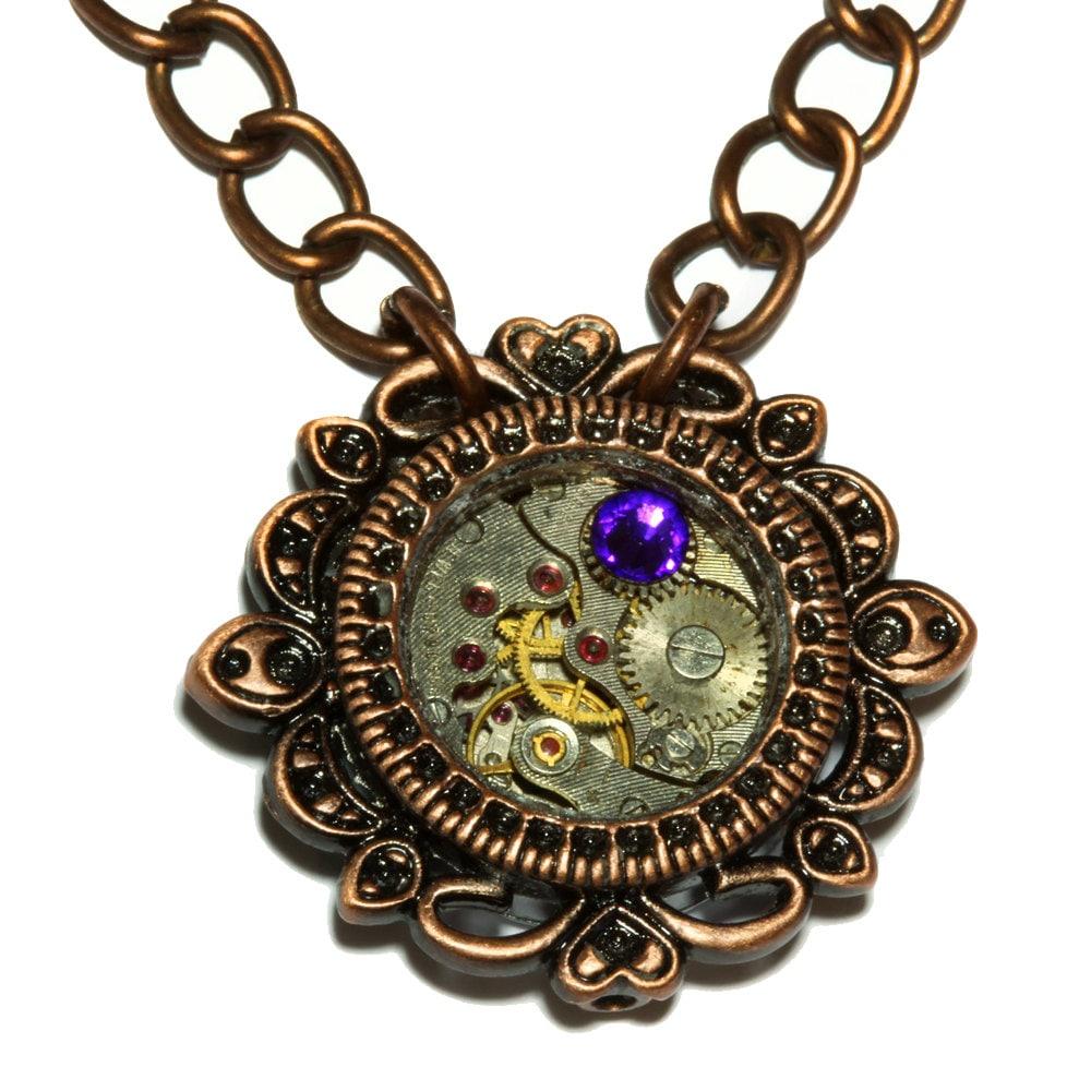 Steampunk jewelry pendant watch movement and heliotrope crystal steampunk jewelry pendant watch movement and heliotrope crystal antique copper mozeypictures Choice Image