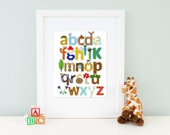 Woodland Nursery Alphabet Print, Woodland Alphabet Art, Nursery Wall Art, Woodland Art, Woodland Letters, Woodland Nursery Decor