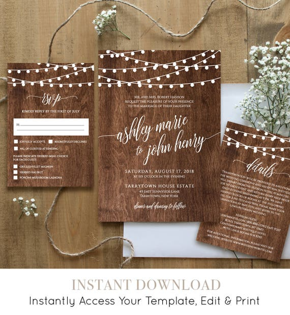 Wedding Invitation Template, Printable Rustic Wood String Lights Invite Set, RSVP, Details, Instant Download, Fully Editable, DIY #014