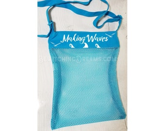 Personalized Mesh Beach/Shopping Bag - Made to Order! - Choice of 4 colors and 8 sayings!