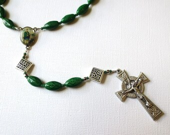 Green Irish Themed Rosary of Celtic Cross Beads with St. Patrick/ St. Brigid Center and Celtic Crucifix