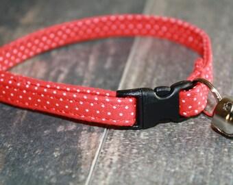 "Cat Collar, Cat Collars, Girl Cat Collar, Boy Cat Collar, Quick Release Cat Collar, Breakaway Cat Collar, ""The Pin dot in Red"""