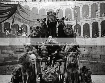 Instant Art Printable Download - Antique Circus Lion Tamer Lions Photograph - Paper Crafts Altered Art Scrapbook - Black & White Photography