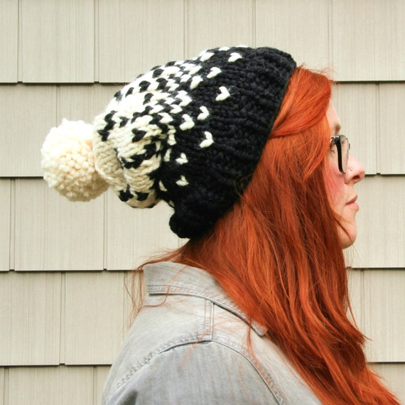 Knit Ombre Fair Isle Pom Pom Slouchy Beanie Hat - Black and Cream