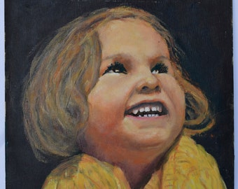 French Little Girl Portrait Oil Painting - French Vintage Picture by Henri Sigaud - Modernist Realistic Portrait of Child