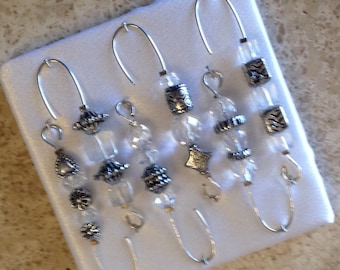Beaded Ornament Hangers -Antique Silver and Crystal Beads - FREE SHIPPING
