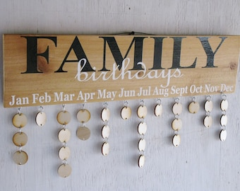 Family Birthday Board , Family Celebrations Board, Christmas Gift for th Family, Wood Calendar, Rustic Signs, Gifts for The Home,Signs