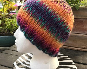 Knitted Rainbow Ombre Beanie