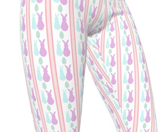 Striped Easter Bunny Print, High Waist Women's Stretch Leggings