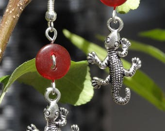 Gecko - Earrings buttons and charms