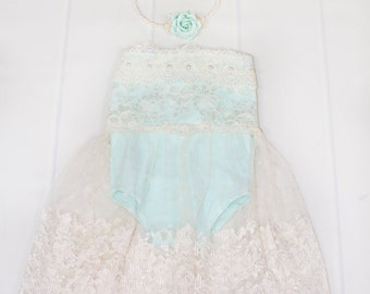Enchantmint newborn babydoll style romper dress - mint knit with antique ivory lace overlay dress - with headband (RTS)