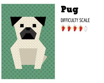 Pug paper pieced quilt pattern in PDF