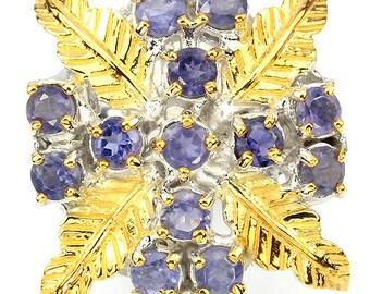 Lucrezia Borgia 14k Yellow Gold Vermeil Equal Cross Iolite Berries, Palm Leaves, Baroque Christian Devotional Ring (USA 7.25, UK O 1/2)