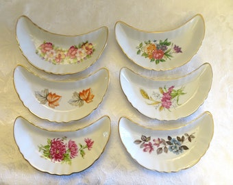 Set of 6 Chadwick Floral China Bone Dishes with Gold Trim, Floral Crescent Shaped Plates - Japan