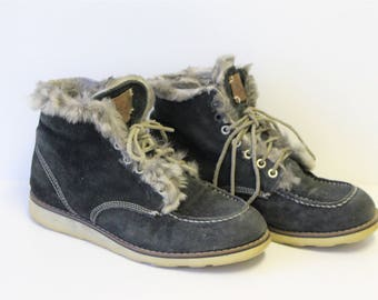 Suede Oxford Boots Dark Green Womens Suede  Wedges Lace up Olive Khaki Gray Fur Suede Oxford Shoes Size US 8.5  EU 40 UK 6.5