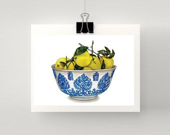 LARGE - REPRODUCTION PRINT - Bowl of lemons in blue and white bowl - print of my original watercolour painting