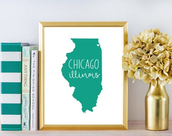 "Chicago Illinois Print DIGITAL DOWNLOAD 8 x 10"""
