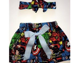 Marvel skirt & headband. 0-3 months