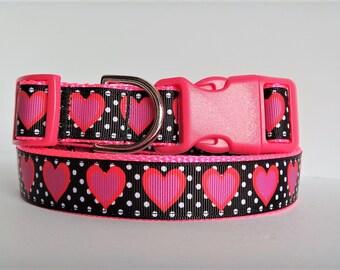 Dog Collar - Valentine Dog Collar - Female Dog Collar with Bright Pink Hearts and Polka Dots - Large Girl Dog Collar - Adjustable Dog Collar