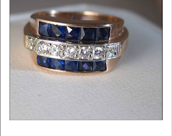 Antique Art Deco 14k Rose Gold Diamond French Cut Sapphire Ring Band