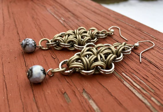 Black & White Chainmaille Earrings