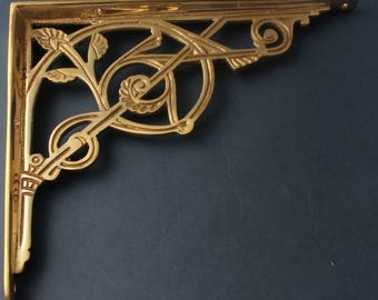 "Brass 8 x 10"" Victorian Shelf Bracket - Antique Style Old Traditional Shelving Brackets Heavy Duty Supports Solid Brass  ~ (BR14-bs)"