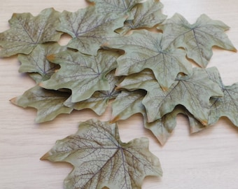 Pack of 10 Green Summer Maple Leaves Artificial Silk for Craft or Decorative use