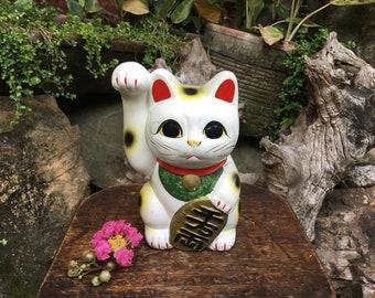 Japanese Old Tokoname Porcelain Figurine 招き猫 Maneki Neko Beckoning Cat Good Luck Charm Coin Bank Okimono