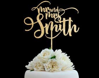 Customized Wedding Cake Topper, Personalized Cake Topper for Wedding, Custom Personalized Wedding Cake Topper, Last Name Cake Topper # 01