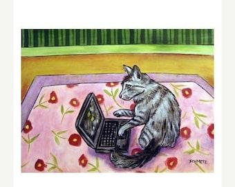 25% off cat art - Grey Cat art print  poster computer, cat gifts, gift