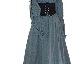 Handmade Noble Womens Cotton Gown with waist cinch and underskirt. Made in Your Size and Color for SCA, Larp, Ren Faire