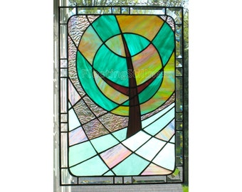 Stained Glass Window Panel Modern Landscape Pink Green Handmade OOAK