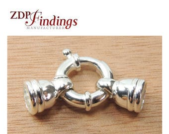 1pc x Big 15mm Bold Sterling Silver 925 Spring Ring Clasp With Round 6mm Diameter End Caps Set (G550048)