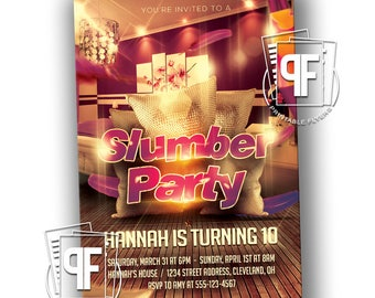 Slumber Party Invitation - Sleepover Birthday Invitation - Sleepover Invitation - Sleepover Birthday - Slumber Party Birthday