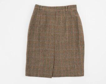 Vintage Plaid Mini Skirt - Minimal - Brown - High Waist - Women's Extra Small