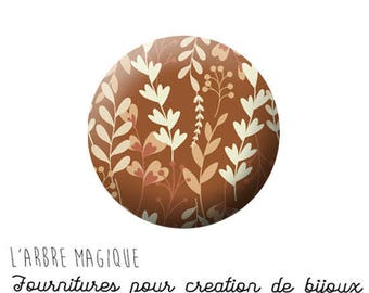 Cabochon fancy 25 mm autumn leaf brown beige ref 1293