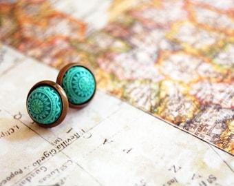vintage framed teal tribal post earrings- small size- ethnic green-scandinavian