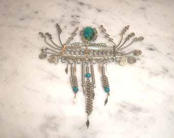 """LARGE VINTAGE Unmarked Sterling Silver Wire Brooch,Turquoise Agate Stone,Aztec,Southwestern,Bohemian,5.75"""" by 4"""",Statement piece,wrapped"""