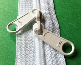 ONE 24 Inch 4.5mm YKK Zippers Color 501 WHITE with Two Long Pull Head to Head Sliders