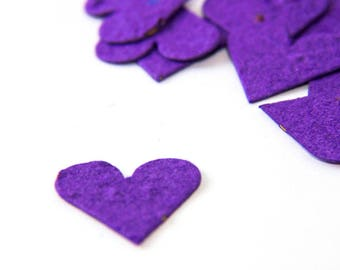 "200 Purple Seed Paper Hearts ""Let Love Grow"" Eco Wedding Favor Table Decoration Bridal Shower Favor Thank You Cards Invitation Party Favor"