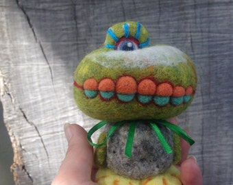 OOAK Needle felted Croc Face Monster Toy Shelf Sitter Ready to Ship